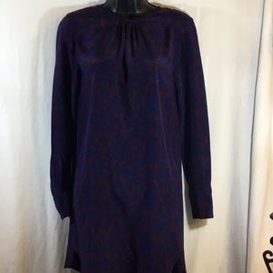 Zara Long Sleeve Dress Blue/Burgundy Size Small